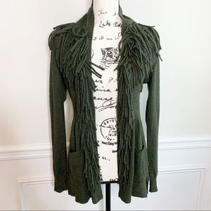 Rebecca Taylor fringe alpaca wool light cardigan M